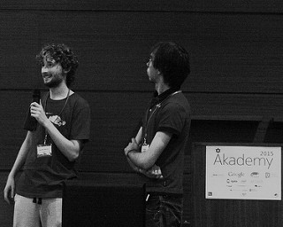2 of last years students presenting at Akademy