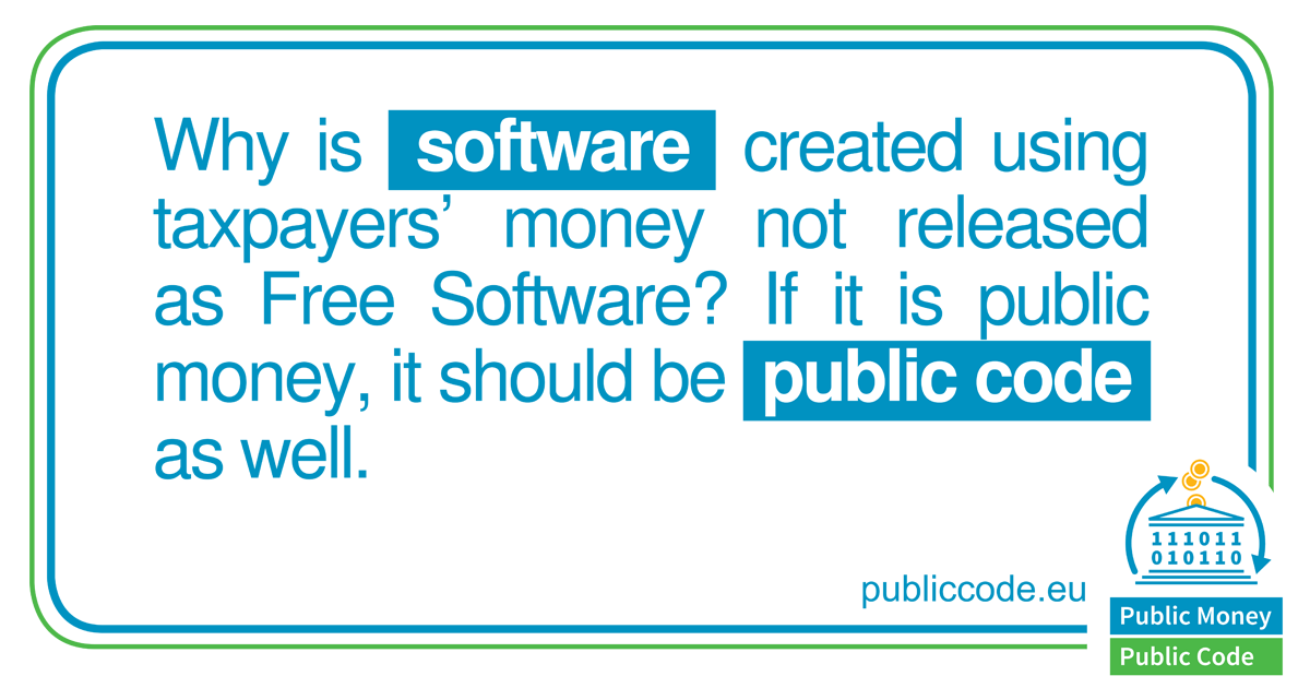 ¿Dinero público? ¡Código Público! – Únete a la campaña de la FSFE