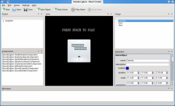 The first GluonEngine based game, Invaders, being edited in Gluon Creator