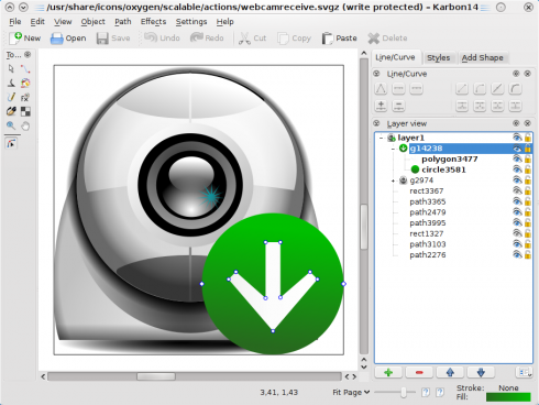 Karbon 2.1 editing the oxygen Webcam icon