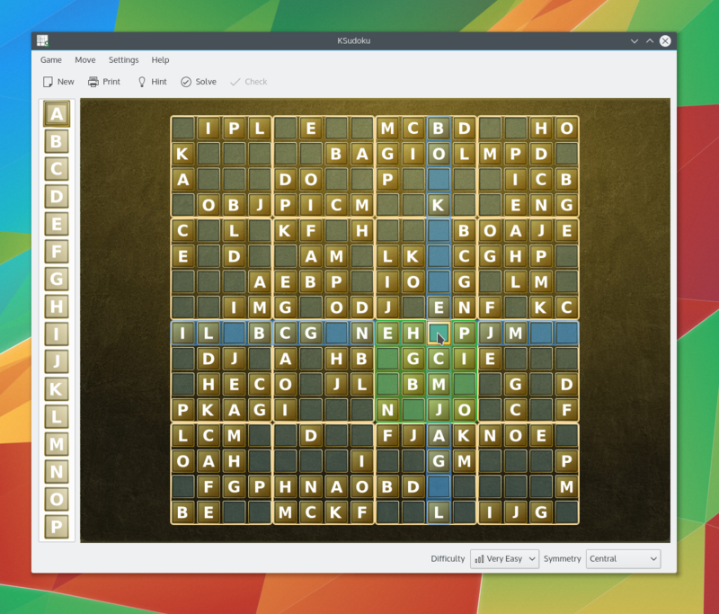KSudoku with a character puzzle